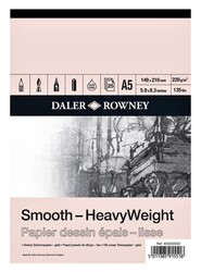 Daler Rowney - Daler Rowney Smooth Heavyweight Cart Pad A5 220Gr 25Sh